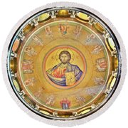 Christ Pantocrator -- Church Of The Holy Sepulchre Round Beach Towel