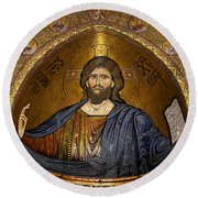 Christ Pantocrator Mosaic Round Beach Towel by RicardMN Photography