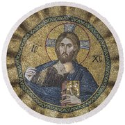 Christ Pantocrator Surrounded By The Prophets Of The Old Testament 2 Round Beach Towel