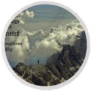 Christ Strengthens Me Round Beach Towel