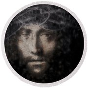 Christ Suffering Round Beach Towel