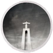 Christ The King Statue I Round Beach Towel