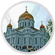 Christ The Savior Cathedral In Moscow-russia Round Beach Towel