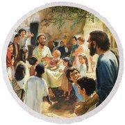 Christ With Children Round Beach Towel
