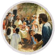 Christ With Children Round Beach Towel by Peter Seabright