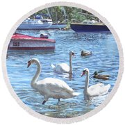 Christchurch Harbour Swans And Boats Round Beach Towel by Martin Davey