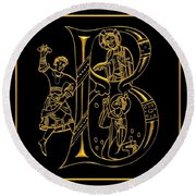 Christian Initial Letter B Round Beach Towel