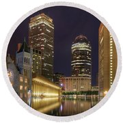 Christian Science Center-boston Round Beach Towel by Joann Vitali