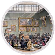 Christies Auction Room, Illustration Round Beach Towel