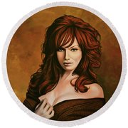 Christina Hendricks Painting Round Beach Towel