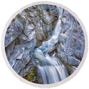 Christine Falls In Mount Rainier National Park Round Beach Towel