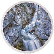 Christine Falls In Mount Rainier National Park Round Beach Towel