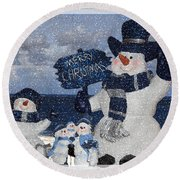 Christmas - Snowmen Collection - Family - Peace - Snow Round Beach Towel