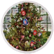 Christmas - An American Christmas Round Beach Towel by Mike Savad