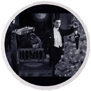 Christmas At Dracula's Round Beach Towel