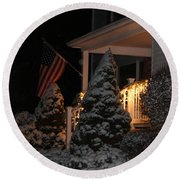 Christmas At Home Round Beach Towel