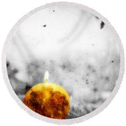 Christmas Ball Candle Lights On Winter Background Round Beach Towel