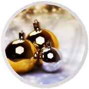 Christmas Balls Gold Silver Round Beach Towel