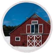 Christmas Barn Round Beach Towel by Edward Fielding