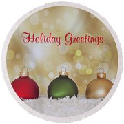 Christmas Baubles Round Beach Towel