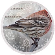 Christmas Blessings Finch Greeting Card Round Beach Towel