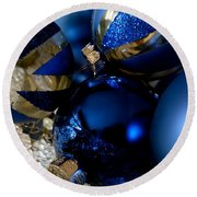 Christmas Blue Round Beach Towel