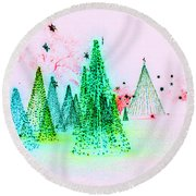 Christmas Blues And Greens Round Beach Towel