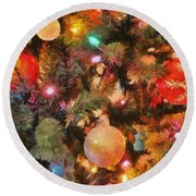 Christmas Branches Round Beach Towel