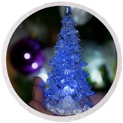 A Christmas Crystal Tree In Blue Round Beach Towel