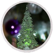 A Christmas Crystal Tree In Green  Round Beach Towel