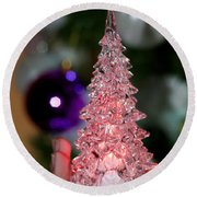 A Christmas Crystal Tree In Pink  Round Beach Towel