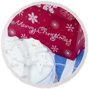 Christmas Cake Round Beach Towel by Anne Gilbert