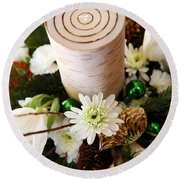 Christmas Candle 1 Round Beach Towel