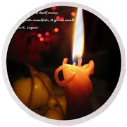 Christmas Candle Greeting Round Beach Towel