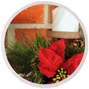 Christmas Candle Round Beach Towel by Kenneth Sponsler