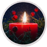 Christmas Candle Round Beach Towel