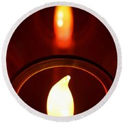 Christmas Candle Reflection Round Beach Towel