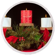 Christmas Candle Trio Round Beach Towel by Kenneth Sponsler