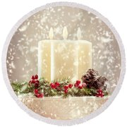 Christmas Candles Round Beach Towel