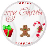 Christmas Card 25 Round Beach Towel