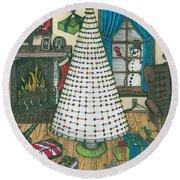 Christmas Card Drawing Round Beach Towel