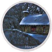 Christmas Card Moonlight On Stone House Round Beach Towel
