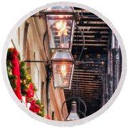 Christmas Card New Orleans Round Beach Towel