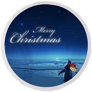 Christmas Card - Penguin Blue Round Beach Towel