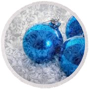 Christmas Card With Vintage Blue Ornaments Round Beach Towel