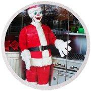 Christmas Clown Round Beach Towel