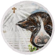 Christmas Cow - Oh To Have Been There... Round Beach Towel