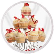 Christmas Cupcakes On Stand Round Beach Towel