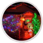 Christmas Decorations At Residential Round Beach Towel