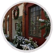 Christmas Decorations In Grants Pass Old Town  Round Beach Towel